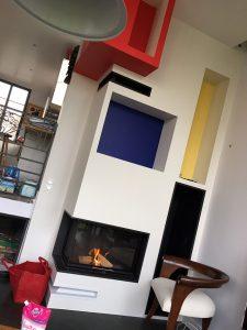 Foyer 2 faces avec plaquage style Mondrian